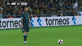 ליונל מסי בבלומפילד - במשחק הידידות בין ארגנטינה לאורוגוואי, צילום: מסך: ספורט 5