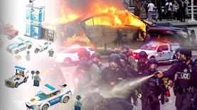 """מהומות בארה""""ב, לגו משטרה, צילום: מסך חדשות NBC, מתוך אתר לגו"""