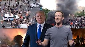 """צוקרברג, טראמפ, מחאות בארה""""ב, צילום: פייסבוק, gettyimages, מסך CNN, MSNBC"""
