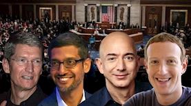 מארק צוקרברג, ג'ף בזוס, סונדאר פיצ'אי, טים קוק, צילום: פייסבוק/מארק צוקרברג, ג'ף בזוס, ויקיפדיה, אתר הקונגרס