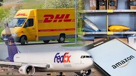 FedEx ,DHL ,amazon, צילום: unsplash, ויקיפדיה