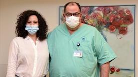 קורין גדעון ופרופסור יוגב, צילום: פייסבוק בית החולים איכילוב