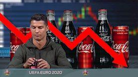 כריסטיאנו רונאלדו ומניית קוקה קולה, צילום: מסך יוטיוב UEFA, פיקסלס, pixbay