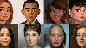 """ציורים של ידוענים באפליקציית Voila AI Artist, צילום: יח""""צ"""
